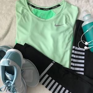 Mint Nike Dri Fit Long Sleeve Running Top Size S
